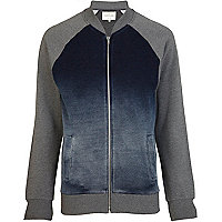 Navy sprayed colour block baseball jacket