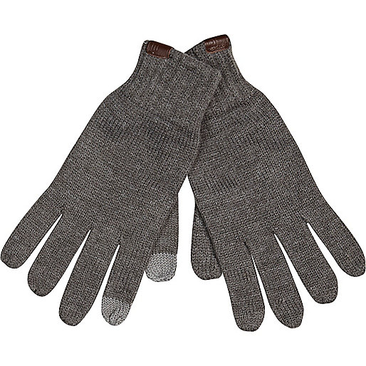 Dark grey knitted touch screen gloves