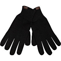 Black knitted touch screen gloves