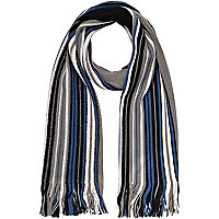 Blue and grey stripe scarf