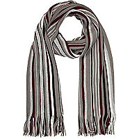 Burgundy and grey stripe scarf