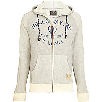 Grey Holloway Road print zip up hoodie