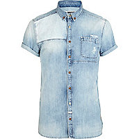 Light wash Holloway Road mixed denim shirt
