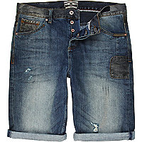 Mid wash Holloway Road patch denim shorts
