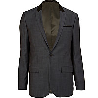 Dark blue contrast collar slim suit jacket