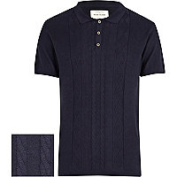 Navy cable knitted short sleeve polo shirt
