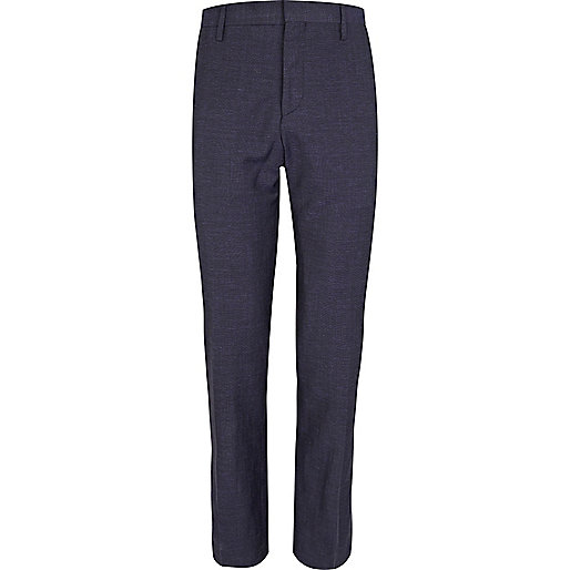 Blue linen slim suit trousers