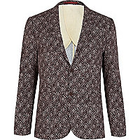 Brown batik print blazer