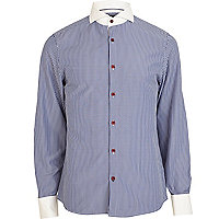 Navy stripe cut away collar shirt