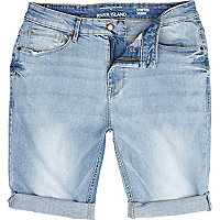 Light wash skinny stretch denim shorts