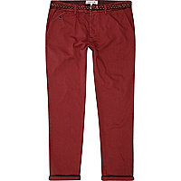 Red belted turn up slim chinos