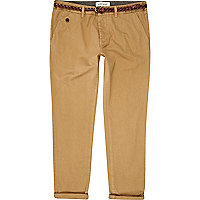 Brown belted turn up slim chinos