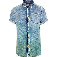Blue dip dye acid wash denim shirt