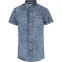 Blue star print short sleeve denim shirt
