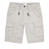 Grey utility pocket cargo shorts