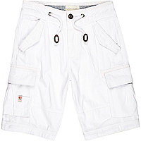 White utility pocket cargo shorts