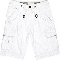 White utility pocket cargo shorts
