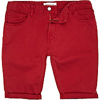 Red turn up shorts