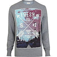 Blue fresh arrow print sweatshirt