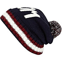 Navy boom stripe trim knitted beanie hat
