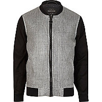 Black colour block casual bomber jacket