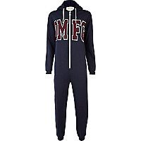 Navy OMFG print hooded onesie