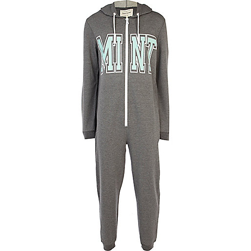 Grey mint print hooded onesie