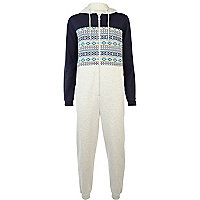 Blue aztec print colour block onesie