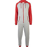 Red and grey colour block onesie