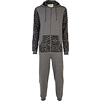 Grey geometric print colour block onesie
