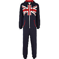 Red union jack print onesie