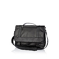 Black contrast panel satchel