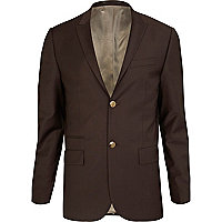 Chocolate brown skinny suit jacket