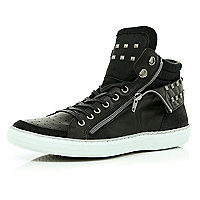Black studded zip side high tops