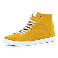 Yellow suede high tops