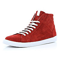 Red suede high tops