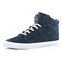 navy suede high tops