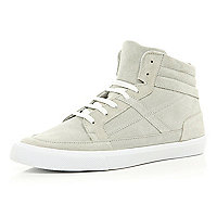 White suede high tops