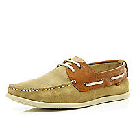 Stone contrast panel lace up boat shoes