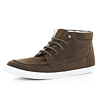 Brown suede lace up trainer boots