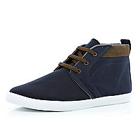 Navy contrast panel lace up mid tops