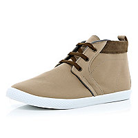Stone contrast panel lace up mid tops