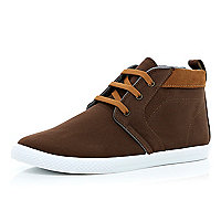 Brown contrast panel lace up mid tops