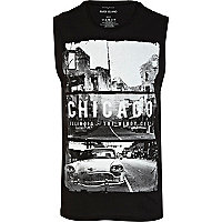 Black Chicago print vest