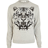 Grey tiger bite print sweatshirt