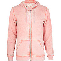 Orange burnout zip through hoodie