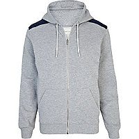 Grey marl denim shoulder patch hoodie