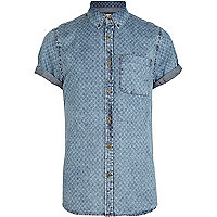 Blue cross print denim shirt