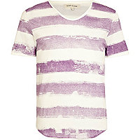 Purple painted stripe low scoop t-shirt
