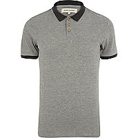 Grey contrast trim polo shirt